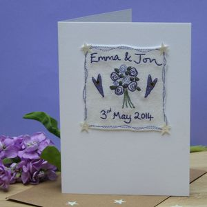 Personalised Embroidered Wedding Bouquet Card