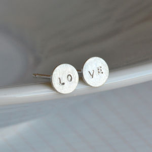 Message Earring Studs In Sterling Silver