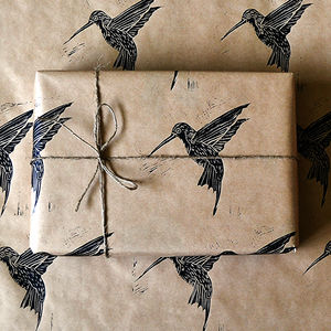 Lino Printed Hummingbird Gift Wrap - wrapping paper