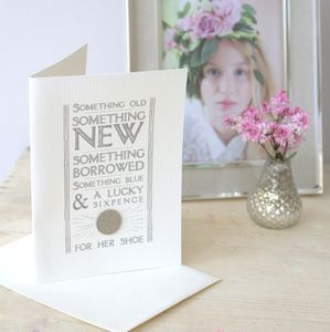 Lucky Sixpence For Her Shoe Card - wedding cards