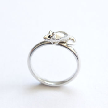 Mouse Ring Silver And Black Diamonds