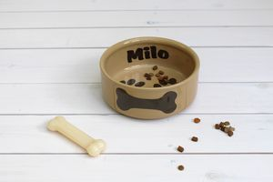 Personalised Name Large Ceramic Dog Bowl
