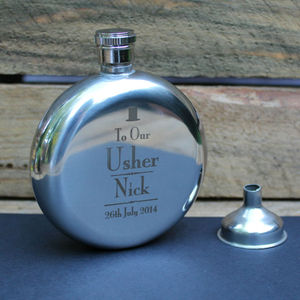 Personalised Round Hip Flask For Wedding Gift - hip flasks