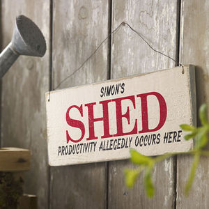 Personalised Vintage Style Shed Sign - retirement gifts