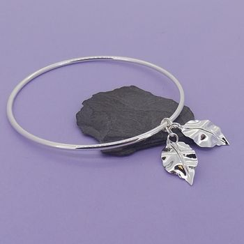 Silver Bangle With Crinkle Leaf Charms