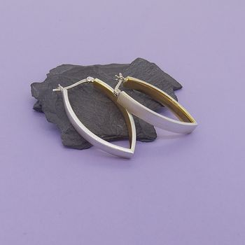 Silver Earrings With Gold Inset