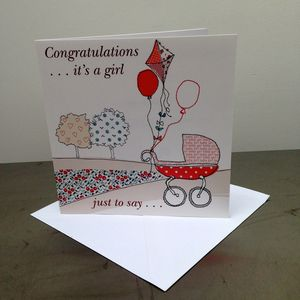 'Congratulations It's A Girl' Card - new baby & christening cards