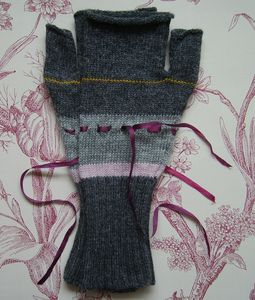 Handmade Fingerless Mittens With Ribbon - womens