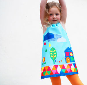 Girls Summer Print Party Dress