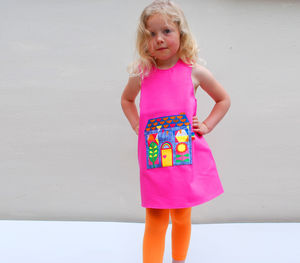 Girls Summer Dress With Digital Print Retro Pocket