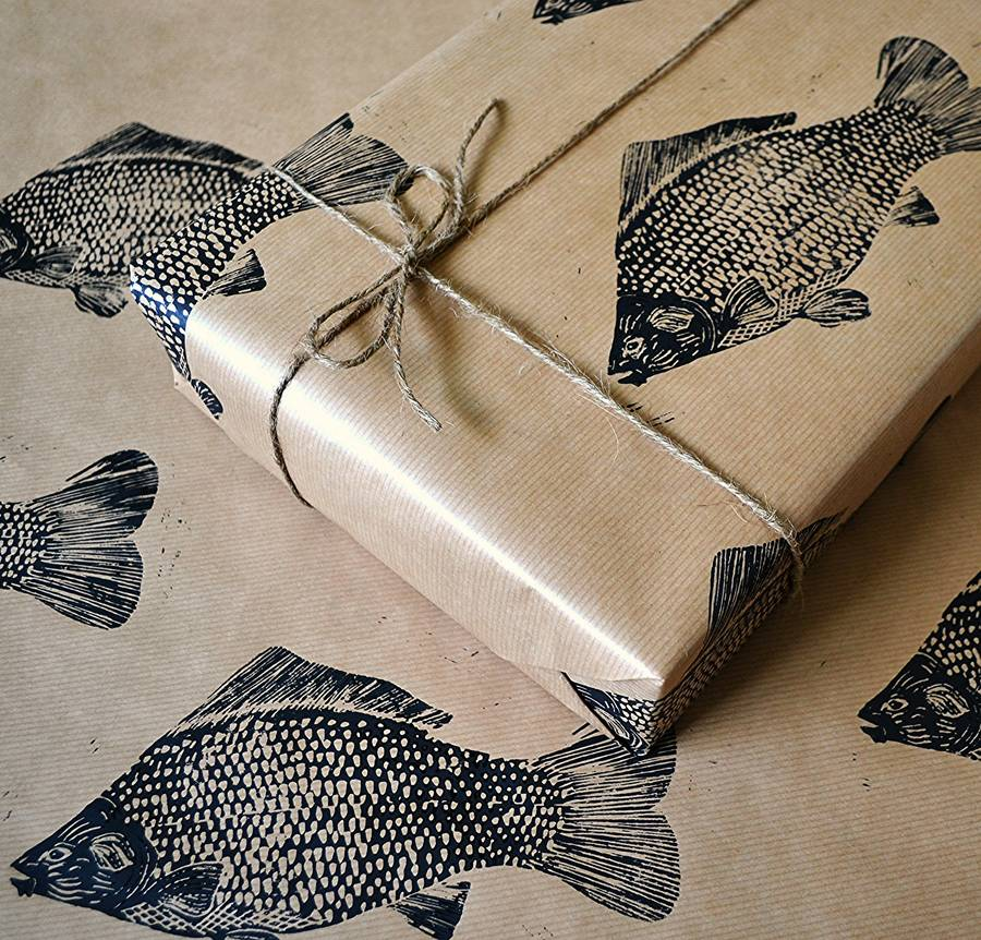 Hand printed fish wrapping paper by handmade and heritage for Wrap fishing system