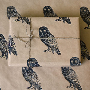 Lino Printed Owl Bird Wrapping Paper