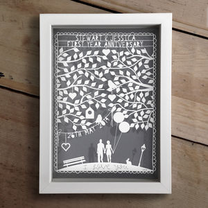 Personalised Couples First Anniversary Papercut - mixed media & collage