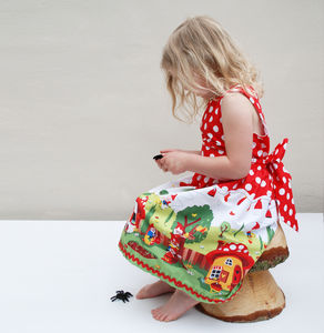 Gnome Print Red Party Dress - wedding and party outfits