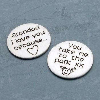 Personalised Silver Love Message Token