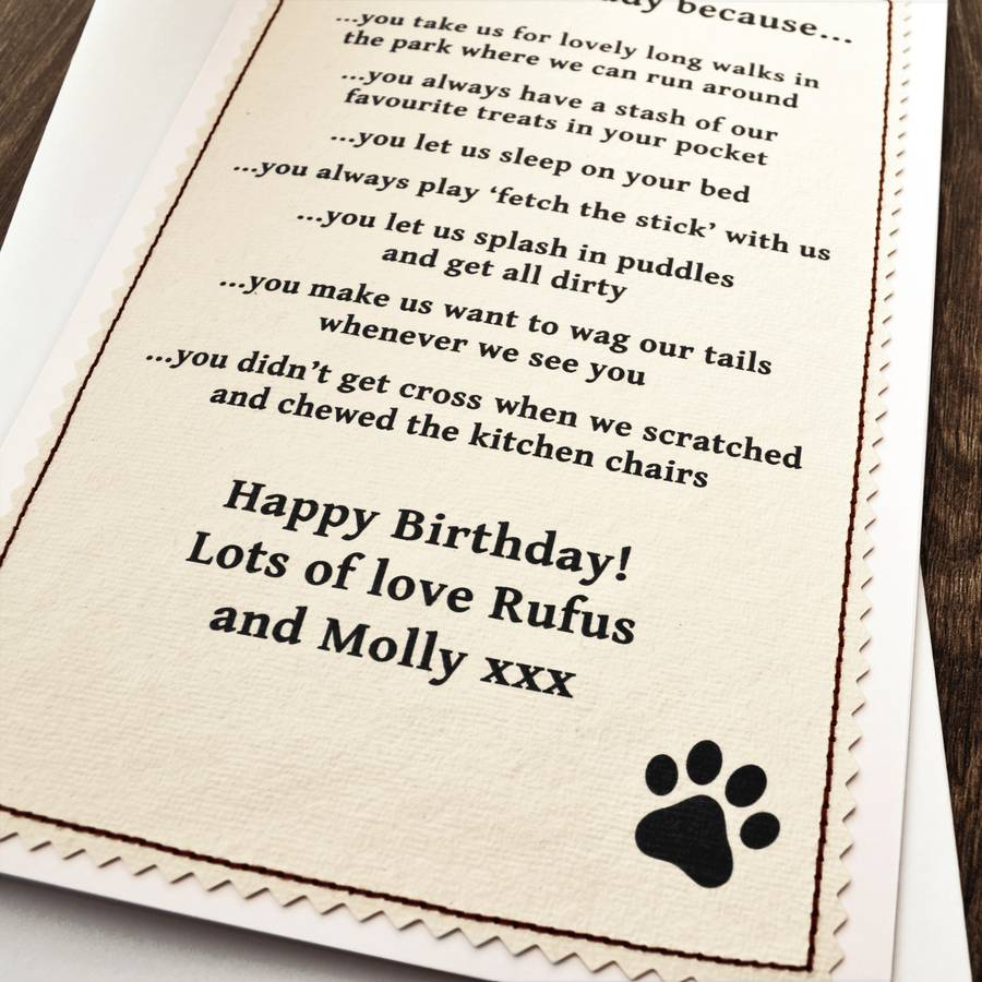 Personalised Birthday Card From The Dog