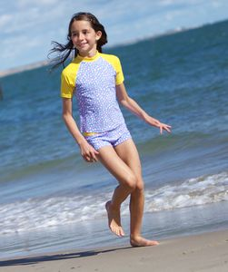 Girls' Modern Dot Shorts Bikini And UV Swim Top - swimwear