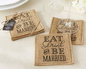 'Eat, Drink And Be Married' Burlap Coasters