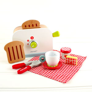 Wooden Toaster Set Play Food Toy