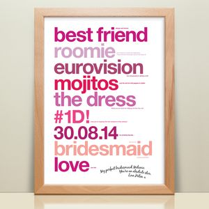 Personalised 'My Perfect Bridesmaid' Print - bridesmaid gifts