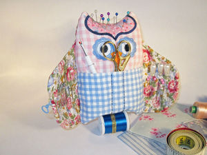 Wise Owl Embroidered Sewing Buddy - pin cushions
