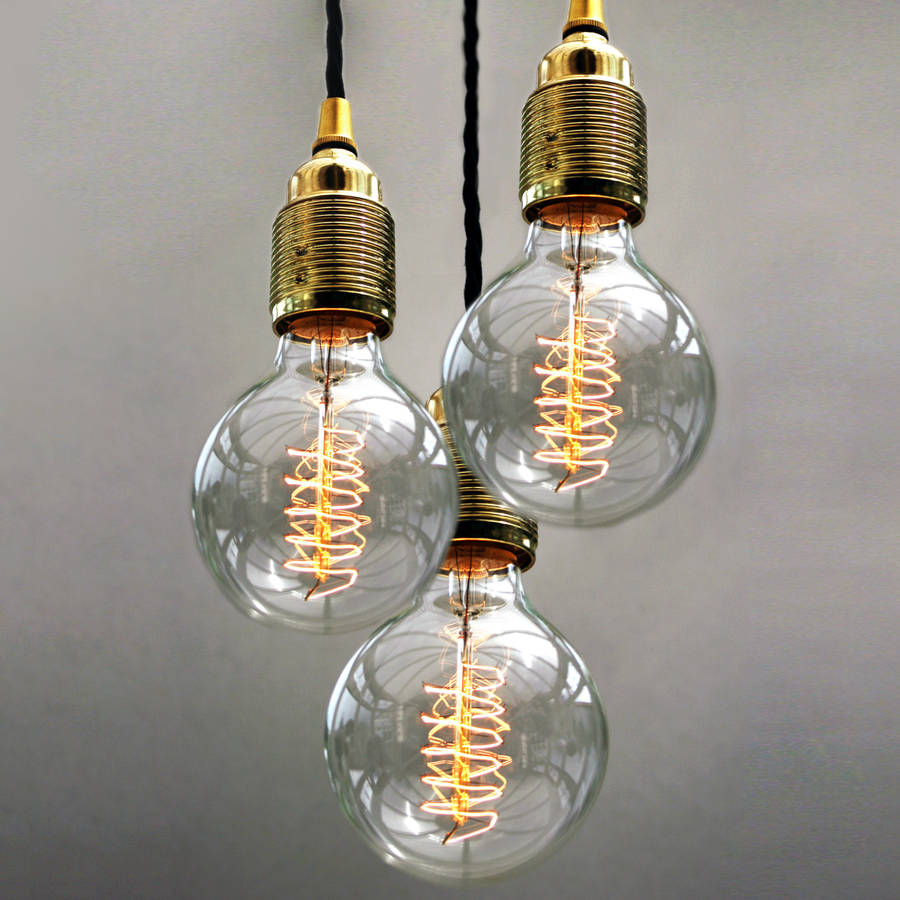Set Of Three Bulb Pendant Lights By Uniques Co