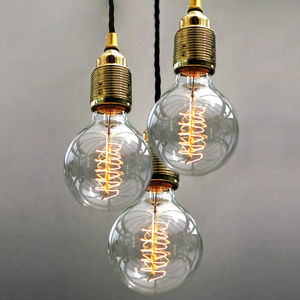 Set Of Three Bulb Pendant Lights - office & study