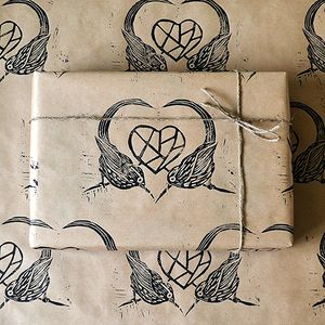 Hand Printed Sparrow Love Bird Gift Wrap - wrapping paper
