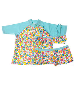 Girls' Floral Shorts Bikini And UV Swim Top Set - swimwear