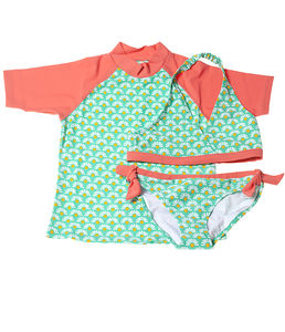 Girls' Daisy Tie Bikini And UV Swim Top Set - clothing