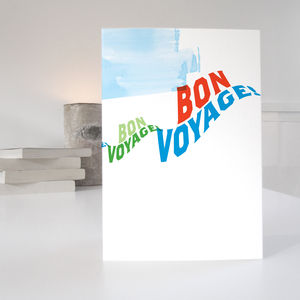 Bon Voyage Card In A Retro Type Style - good luck cards