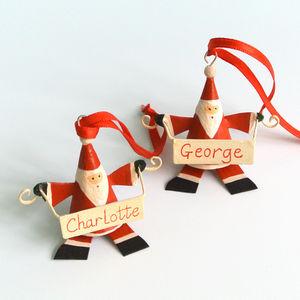 Personalised Father Christmas With Banner - tree decorations