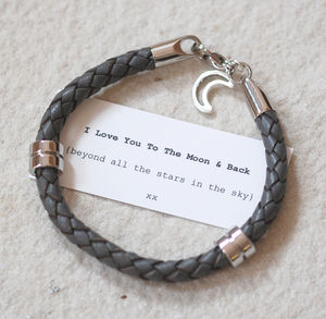 Moon And Back Leather Wristband - bracelets