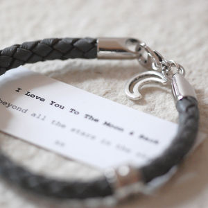 Moon And Back Leather Wristband