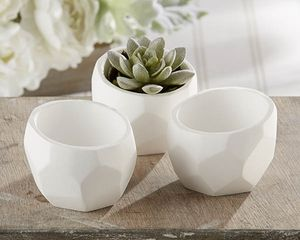 'Modern Garden' Geometric White Planter - table decorations