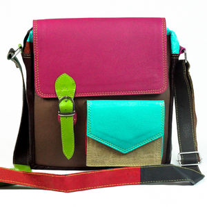 Recycled Leather Bag With Front Pocket