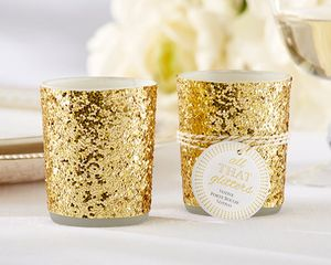 'All That Glitters' Gold Glitter Votive/Tealight Holder - table decorations