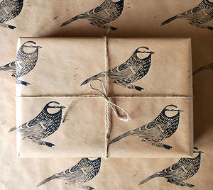 Lino Printed Blue Tit Wrapping Paper