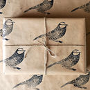 Lino Printed Blue Tit Bird Wrapping Paper