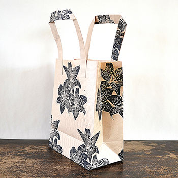 Hand Printed Lily Flower Gift Bag