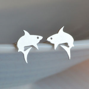 Shark Earring Studs In Sterling Silver - earrings