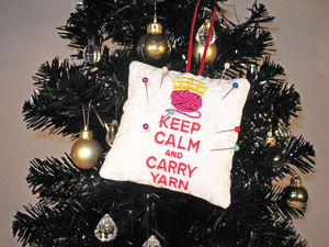 Keep Calm And Carry Yarn Embroidered Pin Cushion
