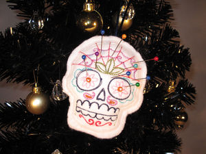 Skull Embroidered Pin Cushion