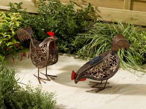 Metal Silhouette LED Solar Garden Lights / Two Hens