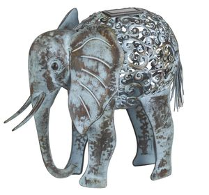 Metal Silhouette Elephant LED Solar Light Sculpture - lighting