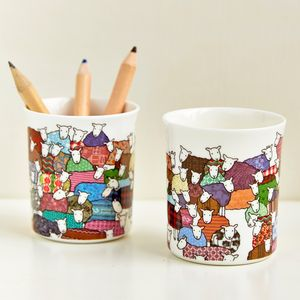 Colourful Sheep Little Pot - egg cups & cosies