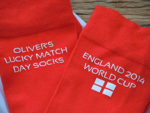 Personalised England World Cup Lucky Socks