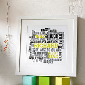 Personalised 'Best Dad' Typographic Print - family & home