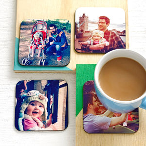 Set Of Four Personalised Drinks Coasters - gifts under £15