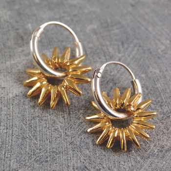 Gold Sun Rays Silver Hoop Earrings
